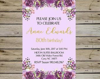 80th BIRTHDAY INVITATION - PURPLE Watercolor Blossoms - 80 years old - Birthday Card - Customized Digital 80th Birthday Invitation
