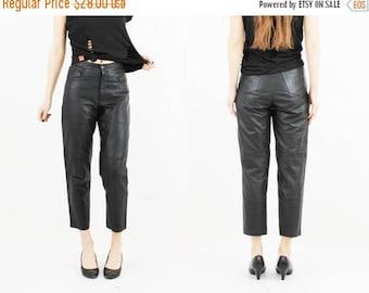 25% OFF Woman Leather Pants / Vintage Leather Pants / Black Leather Pants / High Waisted Pants / 90s Leather Pants / Biker Girl Pants / Goth