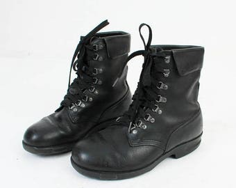 SALE Man Leather Boots / Size 40 Boots / Man Lace Up Boots / Hiking Boots / Black Leather Boots / Leather Ankle Boots / Work Boots