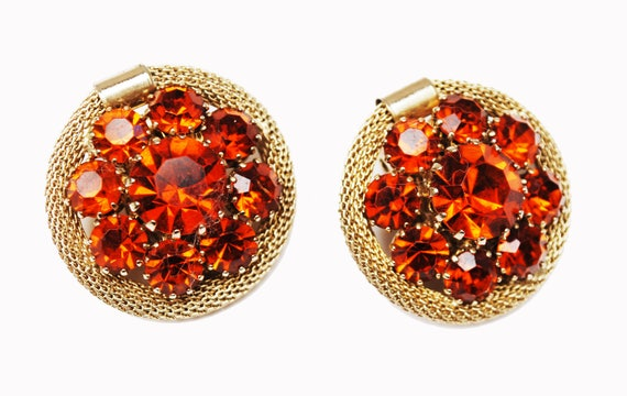Weiss Rhinestone Earrings - Orane Crystal - Gold tone Mesh - domed Round - clip on earrings