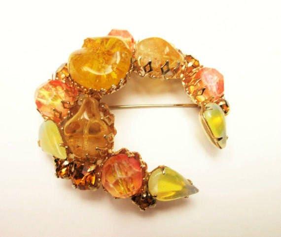 Rhinestone Crescent brooch -Yellow Orange Art Glass mid century - gold metal  - c shape pin