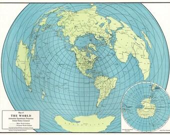 Vintage World Map Etsy - Map of the globe