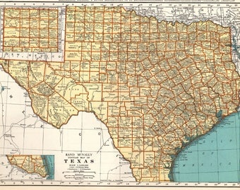 Vintage Texas Map Etsy - Texas map state