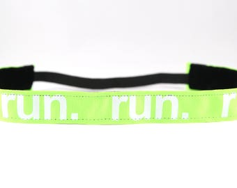 Neon Green Running Headband, Running Accessory, Gift for Runners, Marathon Headband, Team Gift, Fitness Accessory, Nonslip Headband
