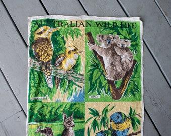 Vintage Linen Australian Wildlife Souvenir Dish Towel Wall Hanging
