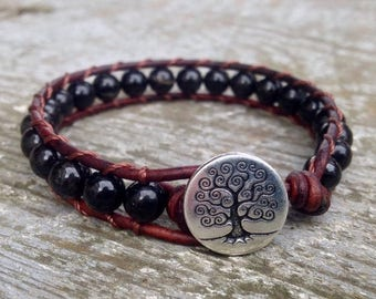 XMAS IN JULY black tourmaline beaded leather wrap bracelet for root chakra unisex for men and women october birthstone birthday