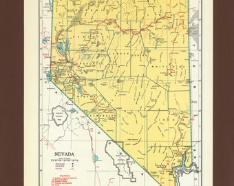 Antique Nevada Map Etsy - Mapofnevada