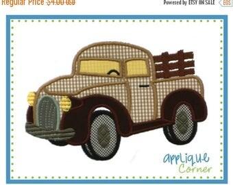 50% Off 701 Antique Truck applique digital design for embroidery machine by Applique Corner