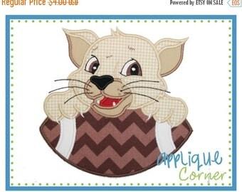 50% Off INSTANT DOWNLOAD Cougar Bobcat Jaguar on Football applique digital design for embroidery machine by Applique Corner