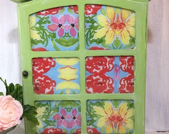 Cottage Chic Display Cabinet, Stained Glass Look Wall Curio, Succulent Green Bathroom Wall Storage Unit, Painted Wall Cabinet, Wall Decor