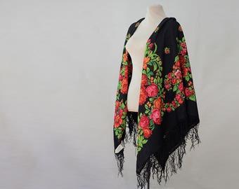 black Russian shawl with roses and lilies, dogrose, rosehip, folk art, large wool challis, piano shawl, gypsy shawl, flamenco shawl NOS NWT