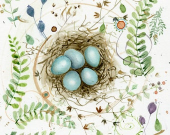 chipping sparrow nest and eggs original watercolor painting part of sparrow collection
