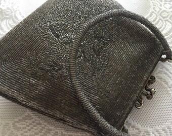 Vintage Pewter Gray Beaded Handbag