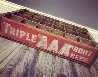 Very Rare Vintage 1950's Triple AAA Root Beer  Wood Soda Pop Crate Conroe TX