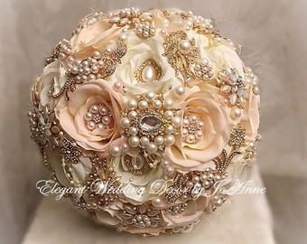 Elegant Pink and Gold Brooch Bouquet , Gold Rose Gold Bridal Brooch Wedding Bouquet, Romantic Wedding Bouquet, Custom-DEPOSIT ONLY