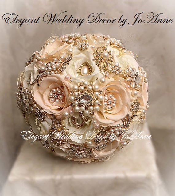 White And Gold Wedding Flowers: Elegant Pink And Gold Brooch Bouquet Gold Rose Gold Bridal
