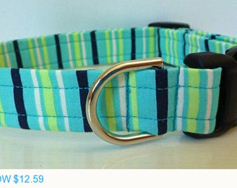 "Sale - 40% Off Dog Collar - Turquoise Black Lime Green and Cream Strips Modern Dog Collar - ""William"""
