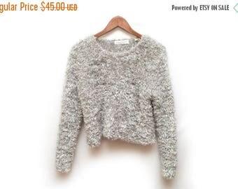 ON SALE 90s Gray Fuzzy Furry Sweater Women's Small