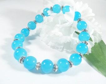Sky Blue Glass Bead Bracelet w Silver Accents, Stacking Bracelet Blue Glass Bracelet Womens Jewelry, Fashion Bracelet Throat Chakra Bracelet