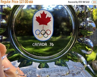 17% OFF SALE 76 Canada Olympics Souvenir Ashtray/Glass Olympics Trinket Dish/ 5 Rings & Maple Leaf /Olympics Collectible/ Made in France/ Mi