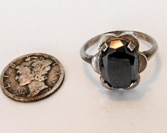 Vintage Sterling Clark & Coombs Mens Hematite Ring          Size 8    C and C