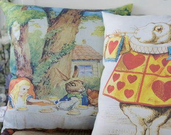 Alice in Wonderland Gift Set Pillows, The White Rabbit and Mad Hatters Tea Party from original Alice in Wonderland