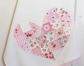 pretty pink patchwork heart flour sack tea towel