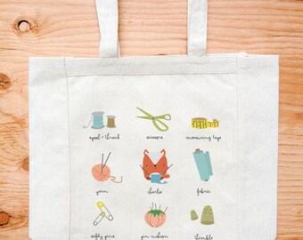 Crafts Sewing Fox Canvas Tote Bag Cute Kawaii Illustration Bag