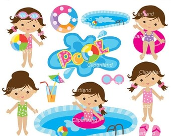 ON SALE INSTANT Download. Pool 6. Cute girls. Personal and commercial use.