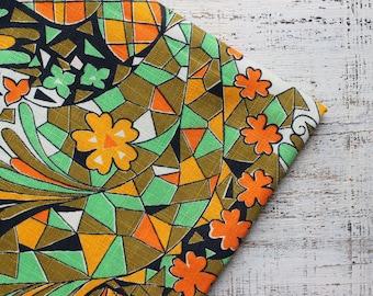 Vintage cotton fabric green orange yellow boho floral