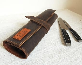 Leather knife roll, Personalized chefs knife Case, Dark brown leather chefs Roll