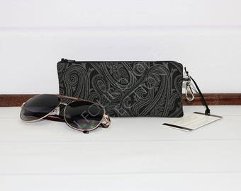 Sunglasses Case - Reading Glasses Case - Paisley Glasses Case - Zipper Eyeglass Case - Padded Zipper Pouch - Female Accessory - Gift for Her