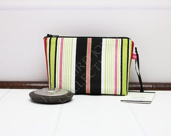 Mini Makeup Pouch - Stripe Makeup Bag - Zipper Cosmetic Bag - Fabric Pouch - Premier Prints Terrace Stripe - Handmade Mom Gift