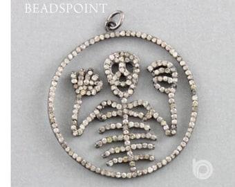 Pave Diamond Pendant, Pave Diamond Skull Pendant, Pave Diamond Round Skull Pendant, Skull Pendant, Diamond Skull Pendant, (DP-1524)