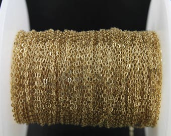 14k Gold Filled Cable Chain, Flat Oval Links, Bright Polished, Medium Heavy, 2 x 1.25 mm, (GF-1020F)(63)