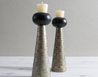 Vintage Candlesticks Wooden Quatrefoil Candle Holder Set of 2