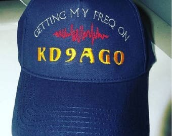 Hat HAM RADIO  - Custom EMBROIDERED  CrushProof Box with Getting My Freq On Design & Call - H18