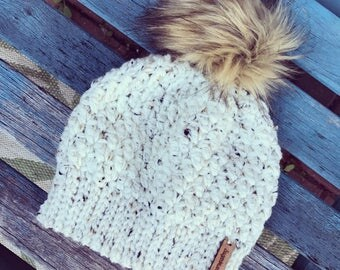 Ivory Tweed Fur Pom Hat- available in sizes toddler, child and teen/adult- MTO