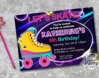 roller skate birthday party invitations invite 80s neon glow printable personalized customized 5x7 or 4x6 - Roller Skating Birthday Party Invitations