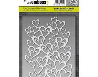 "HEARTS - ""ENVOLEE de COEURs"" by CARABELLE STUDIOs  Deep EMBOSSiNG Folder - by Art Emboss - Imported & New !!"