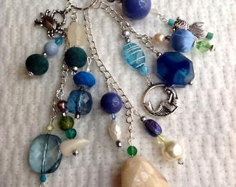 Journal & Bag Charm Beaded Cluster Dangle Keyring Key Chain Friend Gift Book Charm Handbag Purse Under The Sea Fish Mermaid Dolphin crab