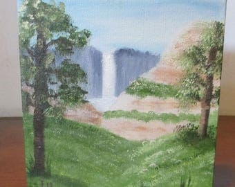 small oil painting; Distant Waterfall