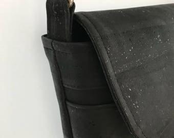 Black cork crossbody or shoulder bag with zip pockets