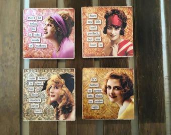 Set of Four Sassy Lady Coasters #2