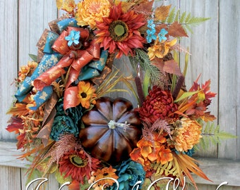 Elegant Teal Rust and Brown XL Fall Pumpkin Wreath, Tuscan Floral, Sunflower Fall Wreath, Copper, Deluxe Autumn Floral Decor, Wisteria
