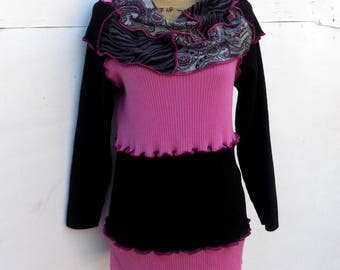 Women's Clothing - Upcycled Sweater - Handmade Rib & Cable Knit Cotton Sweater - Cowl Shawl Neckline - Pink Paisley Prints - Long Tunic Top