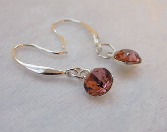 Sterling Silver and Swarovski Crystal Drop Earrings in Blush Pink