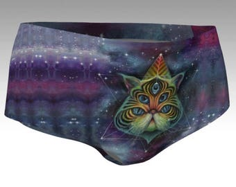 Intergalactic Feline Booty Shorts - short shorts, cat shorts, pussy panties, cat panties, space cat, space shorts, rave wear, edm, clubwear