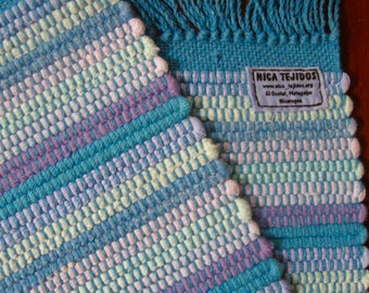 Set of Two Sky Blue Rag Rug Placemats Handwoven in Nicaragua