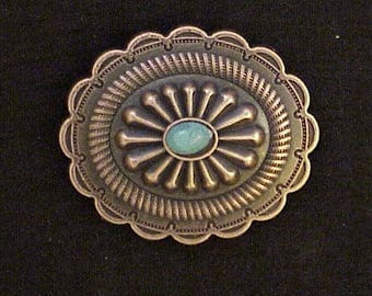 S.W. Oval screw back antique copper concho with turquoise